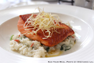 King Salmon, spinach rice, crispy leeks at NERAI