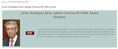 Javier Rodríguez Ibrán, Juez del Jubilee Tourney 80 Final Award