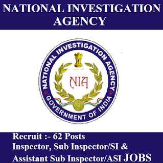 National Investigation Agency, NIA, Ministry of Home Affairs, Government of India, Graduation, SI, ASI, Inspector, Sub Inspector, Assistant Sub Inspector, Sarkari Naukri, freejobalert, Latest Jobs, nia logo