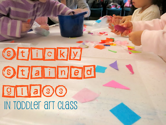 http://librarymakers.blogspot.com/2013/01/toddler-art-class-sticky-stained-glass.html