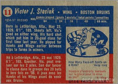 1957-58 Topps #11 - Vic Stasiuk