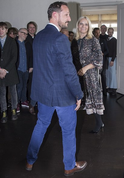 Crown Princess Mette Marit wore Ulla Johnson Isabetta Printed Silk A-line Dress, Rupert Sanderson Regal pumps, Chloe Fringed jacquard jacket