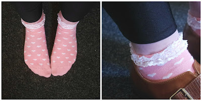 primark pink heart frilly socks