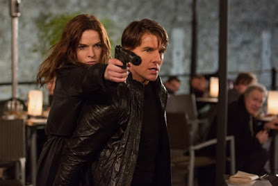 Tom Cruise as Ethan Hunt and Rebecca Ferguson as Ilsa Faust, in Mission: Impossible - Rogue Nation, directed by Christopher McQuarrie