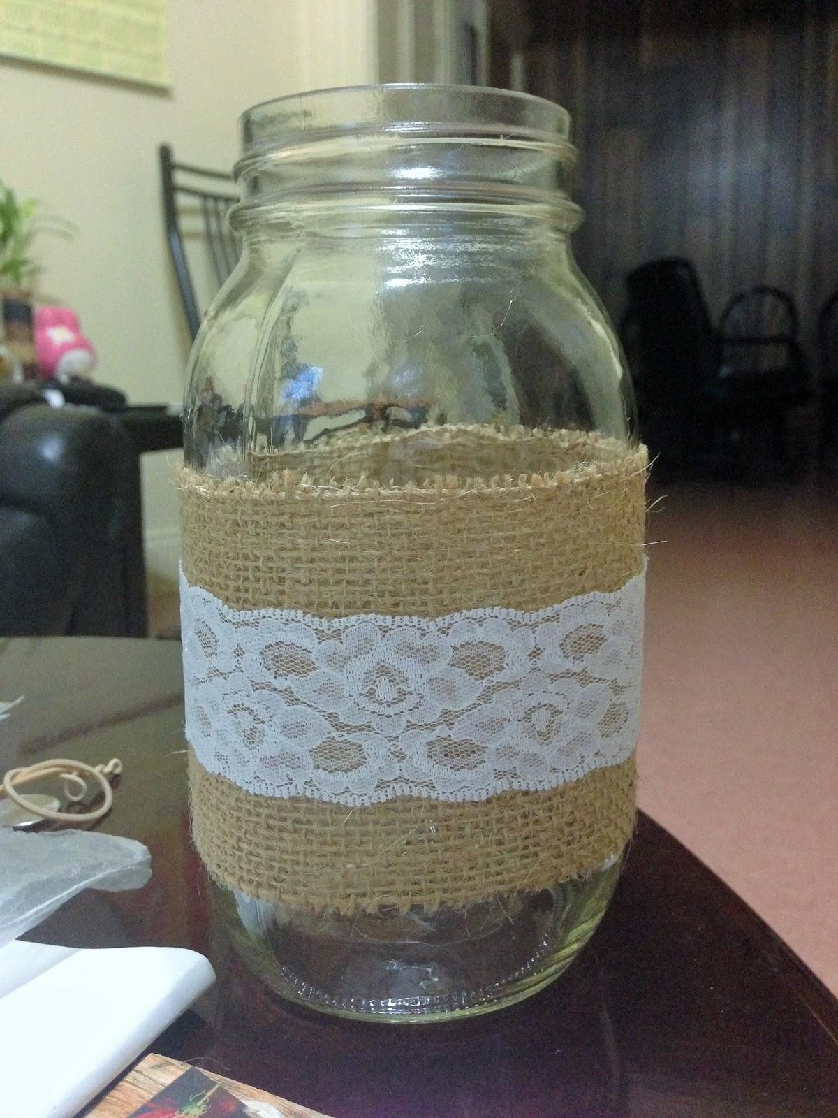 Amazing Gluing Lace On Mason Jars Easy Craft Ideas Interior Design Ideas Oxytryabchikinfo