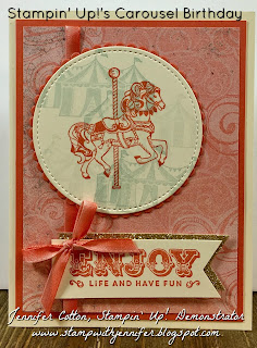 This card uses Stampin' Up!'s Carousel Birthday and Suite Sentiments stamp sets.  It also uses: Cupcakes & Carousels Designer Paper, Gold Glimmer Paper, Banner Triple Punch, Cupcakes & Carousels Embellishment Kit, Stitched Shapes and Layering Circles Framelits!  #staminup #stamptherapist www.stampwithjennifer.blogspot.com