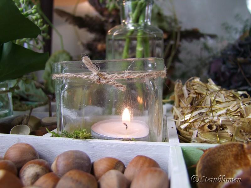 Setzkasten Deko mit Kerzen