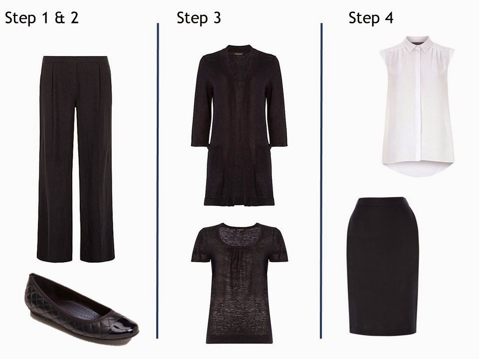 first four steps to built a Starting From Scratch Summer wardrobe in Navy and White
