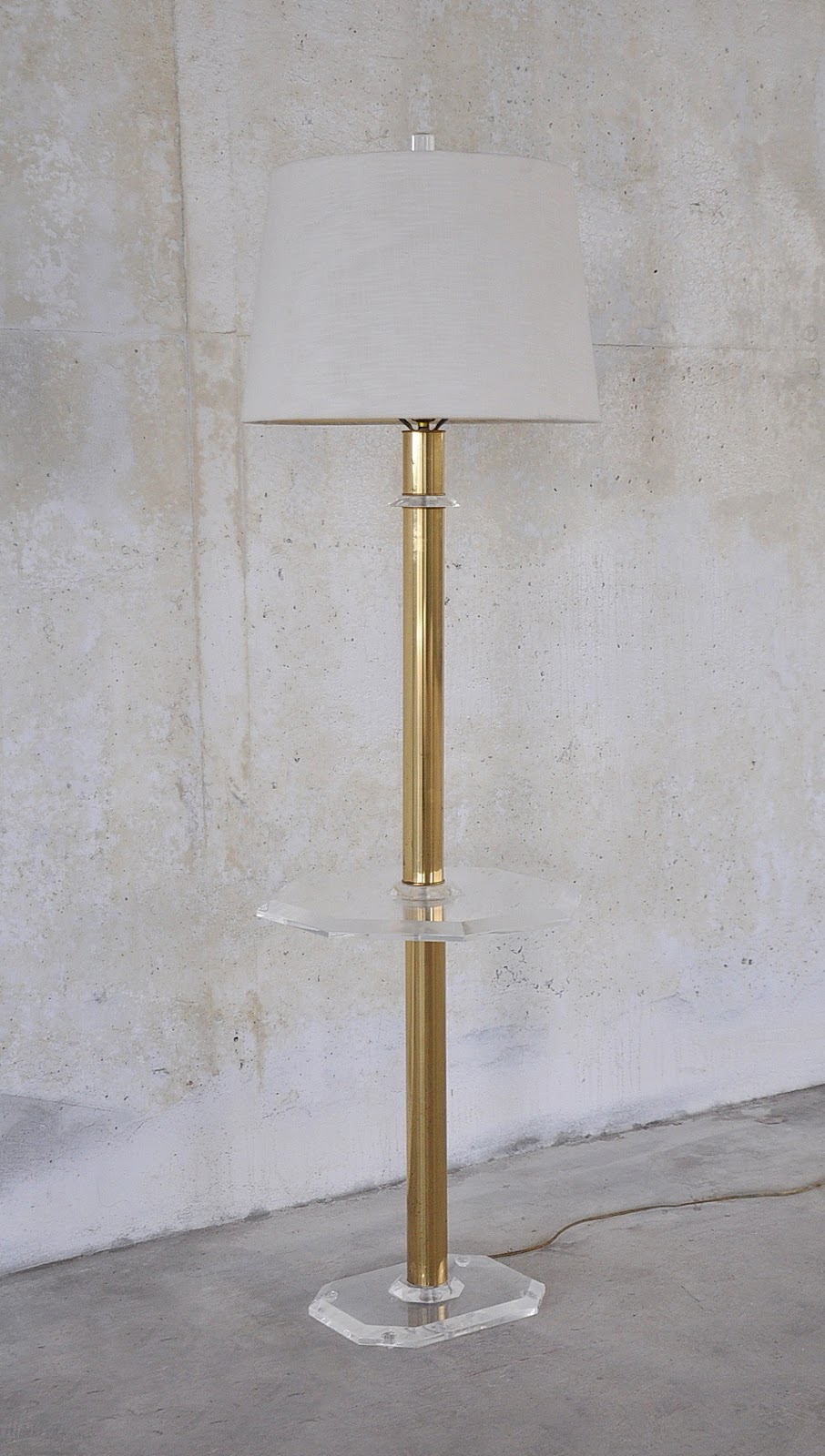Select Modern Brass Amp Lucite Floor Lamp