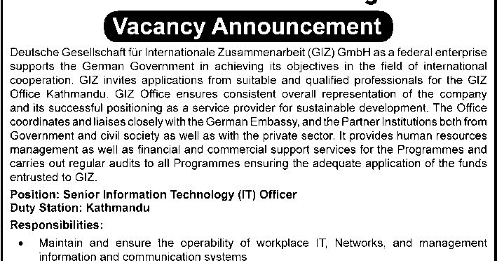 Sr IT Officer Position Vacancy @ Deutsche Gesellschaft fur