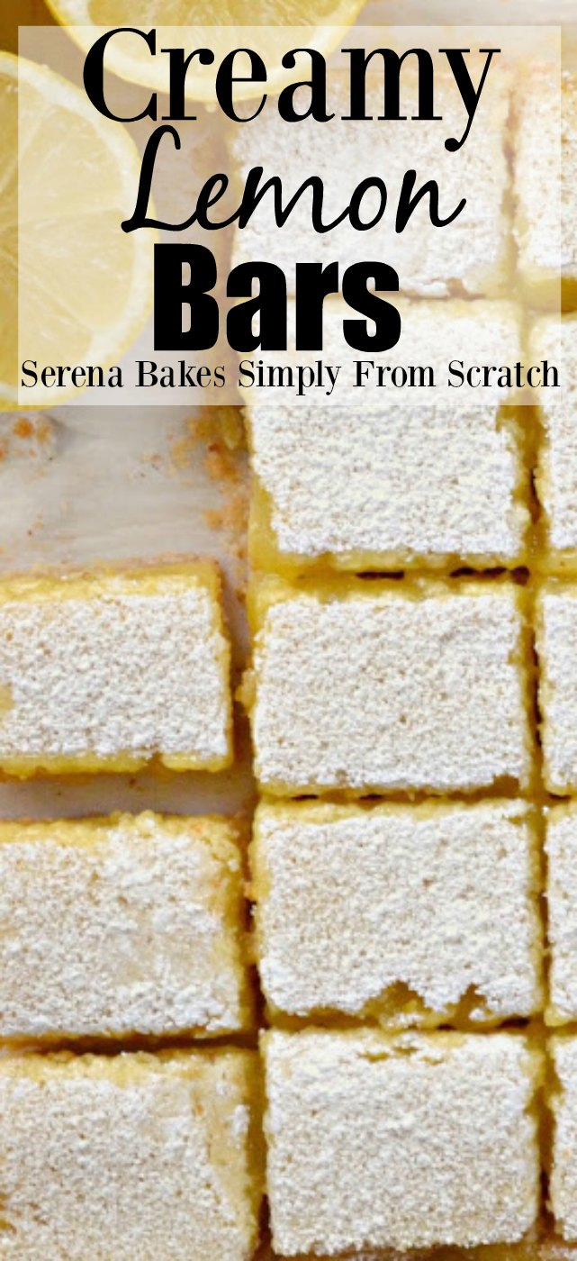 Creamy Lemon Bars from serenabakessimplyfromscratch.com