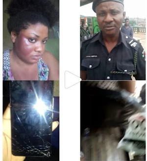 Photos: Police Officer Manhandled A Lady Because She Filmed Him Beating An Innocent Man
