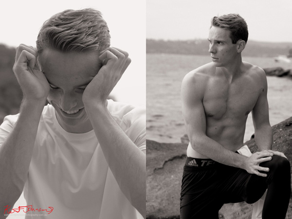 Alternative editorial style headshot & a body shot for a male modelling portfolio - Photographed by Kent Johnson, Sydney, Australia.