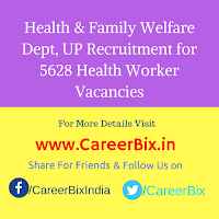 Health & Family Welfare Dept, UP Recruitment for 5628 Health Worker Vacancies