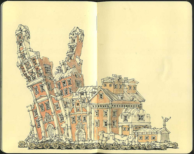 02-48-Wheeler-Mattias-Adolfsson-Surreal-Architectural-Moleskine-Drawings-www-designstack-co