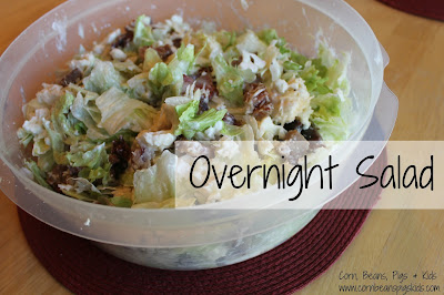 Overnight Salad - easy and delicious dish to make for family and friend gatherings that you can make ahead of time