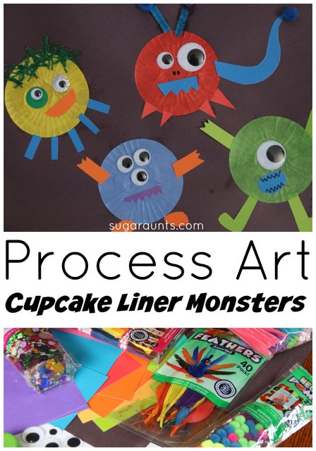 Cupcake liner monster craft made with process art.