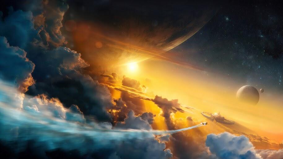 Night Sky Clouds Scenery 4k Wallpaper 41053