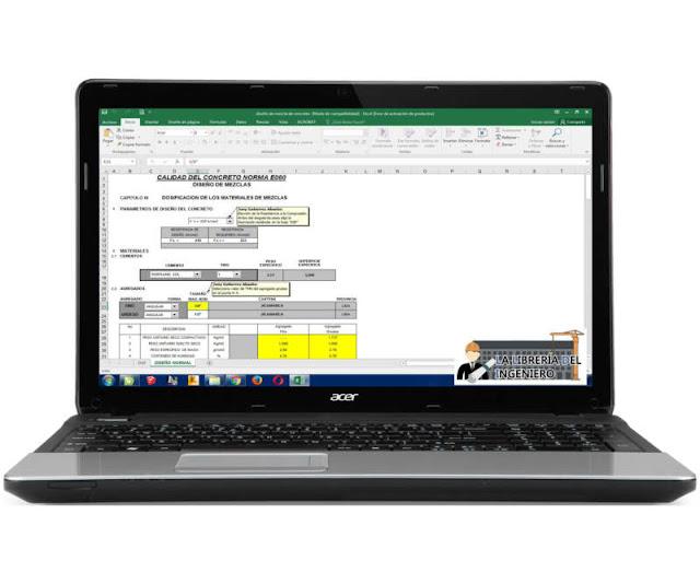 Plantilla Dosificación de Materiales, Diseño de Mezcla de Concreto - Excel
