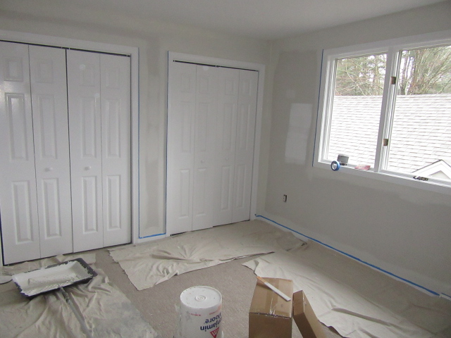 prepping a room for painting.