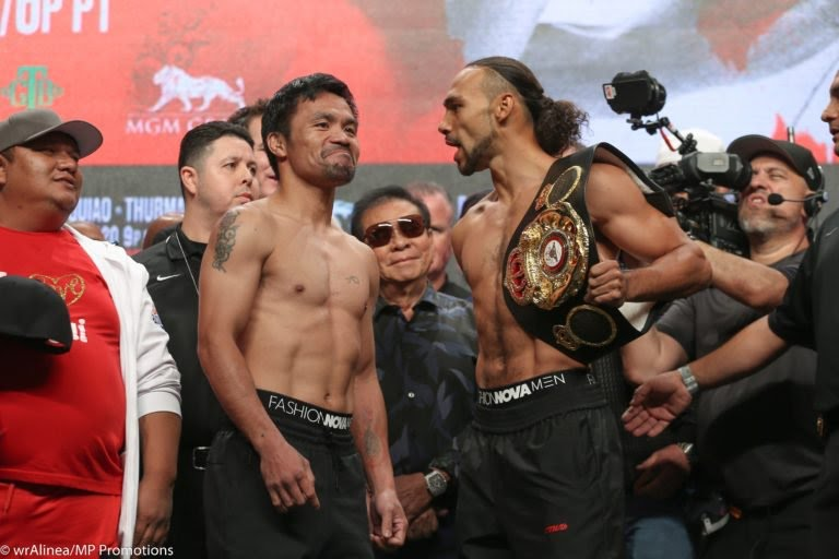 Manny Pacquiao vs. Keith Thurman Official Weigh-In (REPLAY VIDEO)