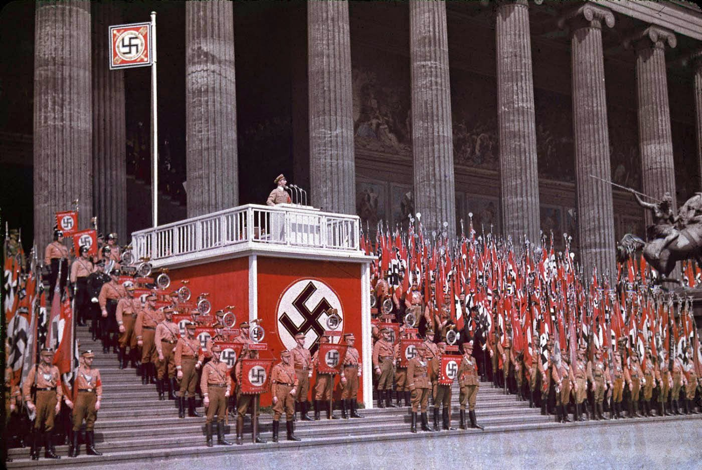 Reich Minister of Propaganda Joseph Goebbels speaking at the Lustgarten in Berlin, 1938.