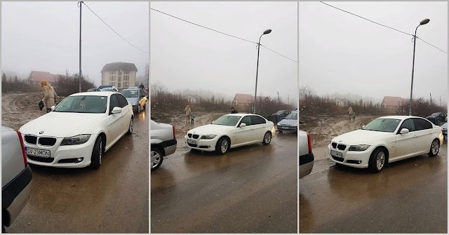 FOTO Un BMW a blocat drumul spre Centrul Help Autism Suceava