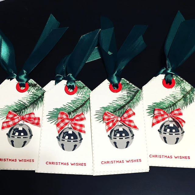 Sunny Studio Stamps: Holiday Style Jingle Bell Christmas Gift Tags by Marilyn Martin