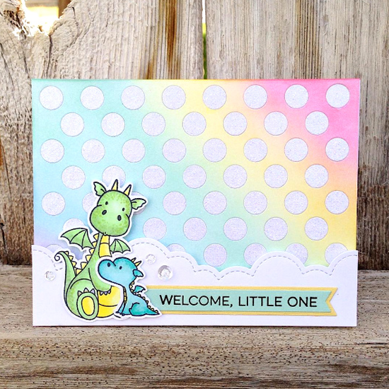 Essential Sentiments stamp set, Birdie Brown Magical Dragons stamp set and Die-namics and Peek-a-Boo Polka Dots Die-namics - Stephanie Jones #mftstamps