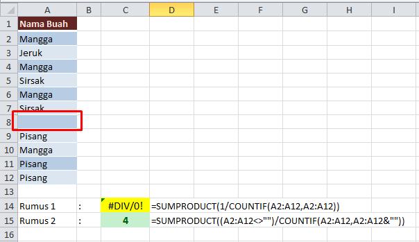 Hasil Jumlah Data Unik Rumus SUMPRODUCT