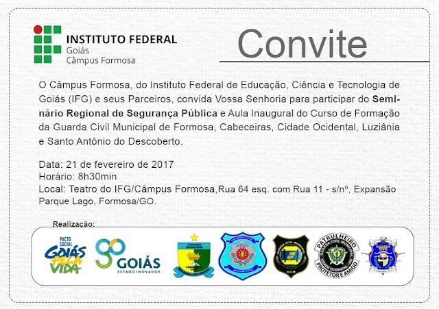 Formosa sedia Seminário sobre o papel da guarda civil municipal no Entorno