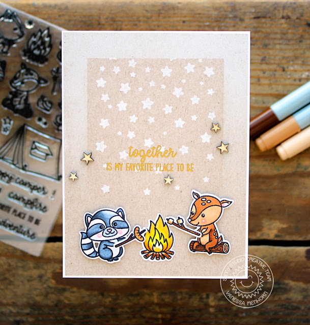 Sunny Studio Stamps: Critter Campout Fireside Buddies Friendship Card by Vanessa Menhorn