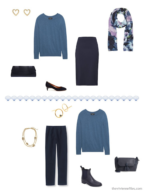 2 ways to wear a muted teal sweater from a 4 by 4 Travel Capsule Wardrobe