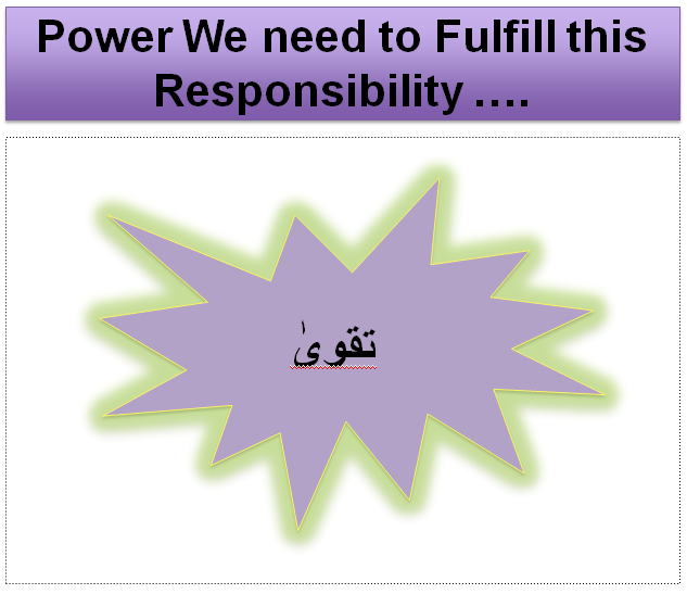 Power We need to Fulfill this Responsibility