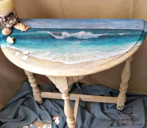 Ocean Art Painting Table Makeover