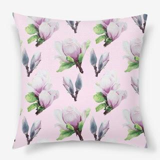 Podushka s printom magnoliya na rozovom | Inna Yakuskeva's blog