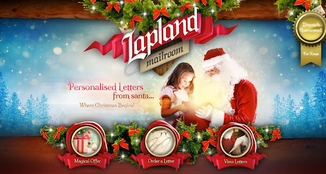 Website screenshot showing Santa and a child and the packages on offer