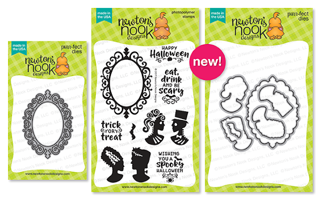Cameo Frame Die, Creepy Cameos Stamp Set and Coordinating Die by Newton's Nook Designs