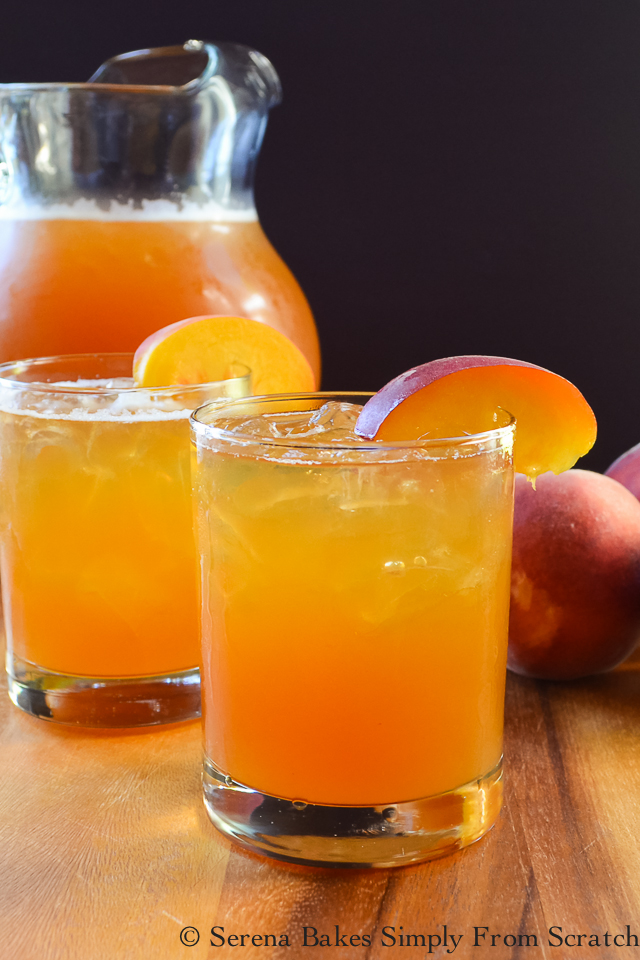 Peach Whiskey Iced Tea the perfect summertime cocktail! serenabakessimplyfromscratch.com