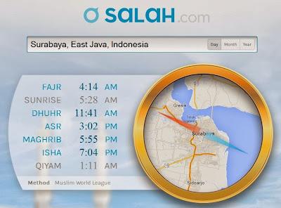 Prayer Time Online-Cek Waktu Shollat Sholat Salat-Wilayah Surabaya Indonesia