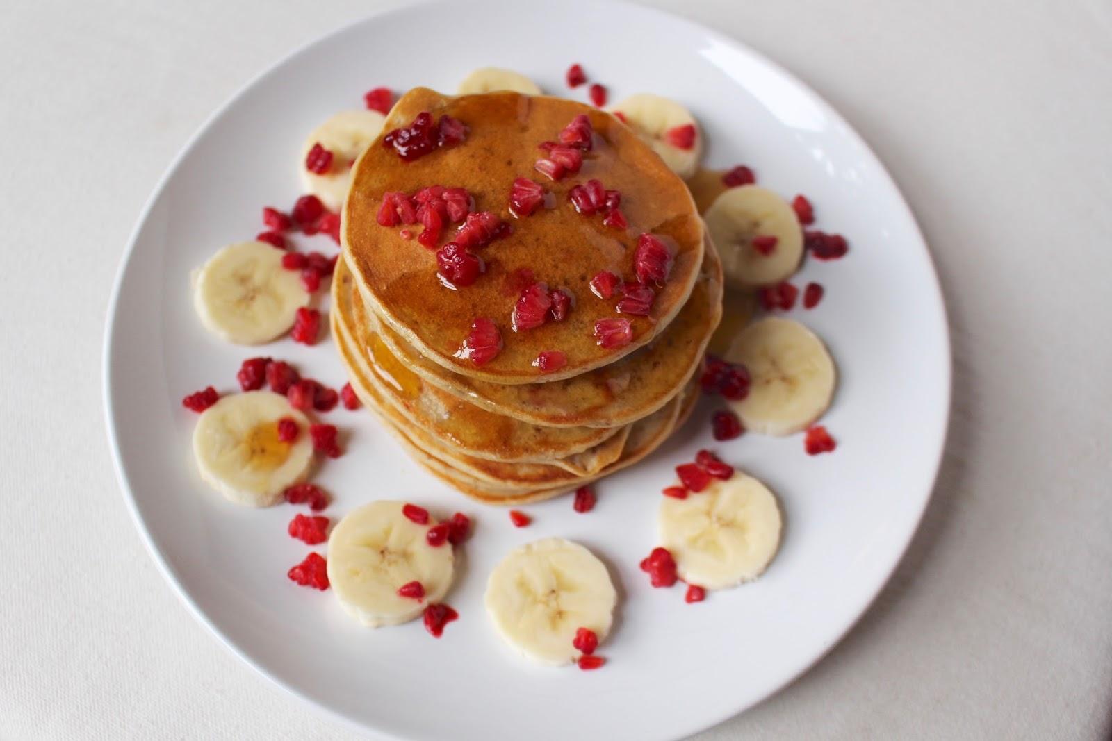 Vegan banana pancake stack
