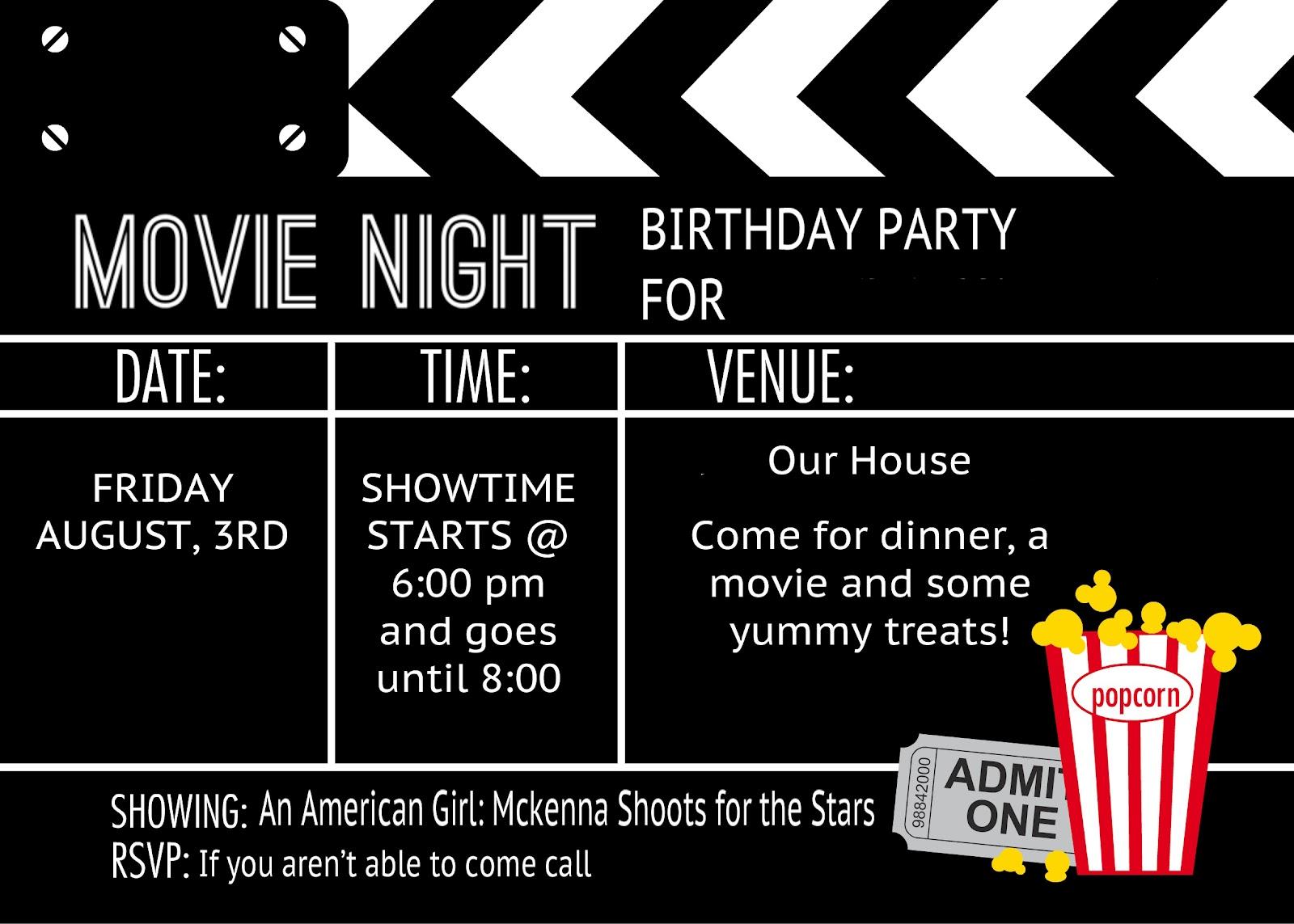 Movie Night Invitations Template movie ticket invitation template – Movie Ticket Invitations Printable Free