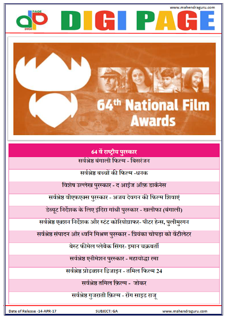 DP | NATIONAL FILM AWARDS | 14 - APR - 17 | IMPORTANT FOR SBI PO
