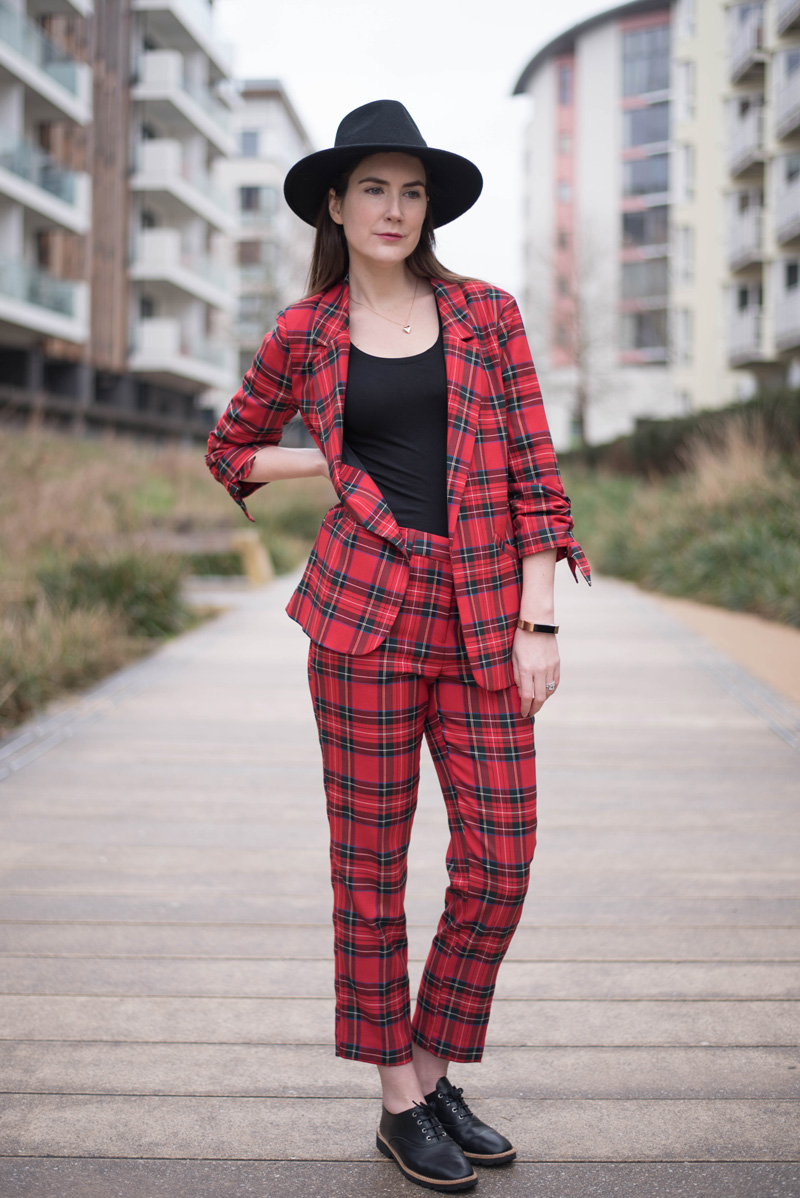 Womens Red Tartan Suit