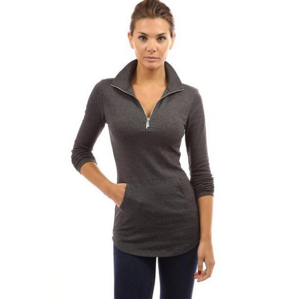 Women Zip Up High Neck Monocolor T Shirt - Black M