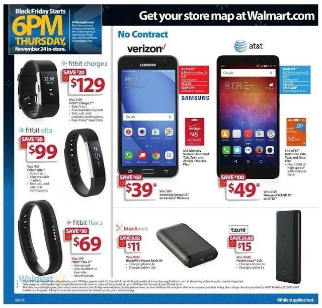 Black Friday Walmart 2016 Fitbit Bands, Blackweb Power Bank, Samsung Galaxy J3