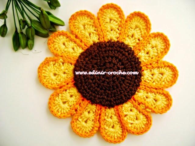 aprender croche pega-panelas flor girassol curso de croche edinir-croche edinircrochevideos