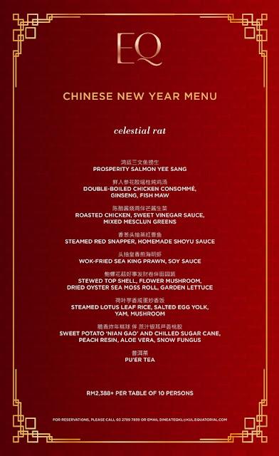 EQ KUALA LUMPUR Chinese New Year Set Menu -  Longevity Rat Set Menu