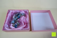 Box öffnen: A TE® Armband Charms Damen Kristall Blau Muranoglas Blume Glasperle Mädchen Geschenk Frauen #JW-B94
