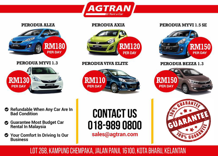 Kereta Untuk Disewa Area Kota Bharu - AG Car Rental Kota Bharu